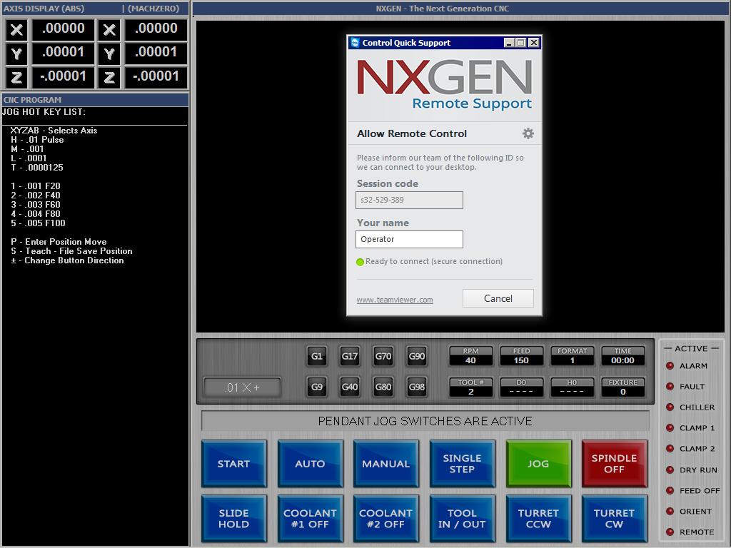 Remote Support NXGEN CNC